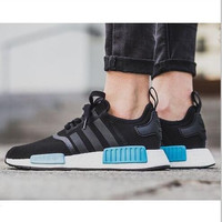 """""""Adidas"""" NMD Trending Fashion Casual Sports Shoes Black blue soles"""