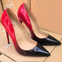 """Christian Louboutin"" Trending Ladies Edgy Pointed Gradient Color Heels Shoes I"