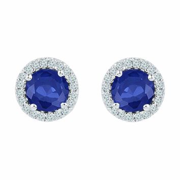 10kt White Gold Women's Round Lab-Created Blue Sapphire Diamond Stud Earrings 1-1-2 Cttw - FREE Shipping (US/CAN)