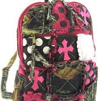 Cute! Patchwork Camo Cross Print Small Backpack Purse Pink Camouflage
