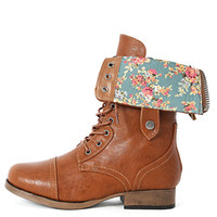 Womens Fold Over Floral Military Combat Boots Motorcycle Riding Lace Up Zipper
