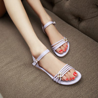 Fashion Ankle Straps Sandals Flats with Rhinestone Women Shoes 1179