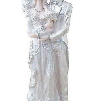 Vintage Angelic Bride and Groom Cake Topper or Figurine Decor Silver & White