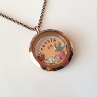 """Led Zeppelin """"Ramble On"""" Floating Charm Locket Necklace, Hand Stamped"""