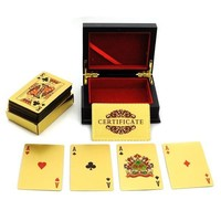 24K GOLD PLAT PLAYING CARDS FULL PER DECK 99.9% PURE WITH BOX GI EUR  D_L = 5617687553