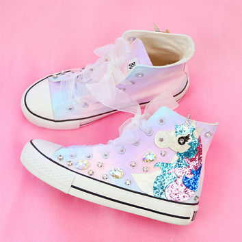 Original 2015 autumn new Harajuku hand-painted diamond gradient candy pony flat high-top canvas shoes women's singles shoes