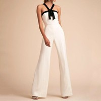 Tide brand female models sexy sleeveless hanging neck jumpsuit trousers
