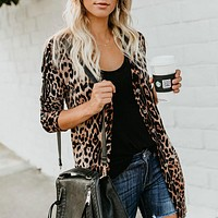 Fashion sexy women's V-neck long sleeve button printed cardigan jacket