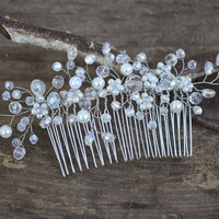 Pearl Wedding Hair Comb, Bridal Crystal Hair Comb, Bridal Headpiece, Flower Hair Comb, Crystal & Pearl Hair Comb, Bridal Head Piece