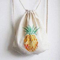 Welcoming Pineapple Canvas Drawstring Backpack