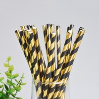 25pcs Stripe Paper Drinking Straws Gold And Black Paper Straw Wedding Birthday Party Decor Supplies Disposable Straw Tableware