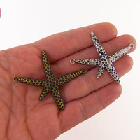 3 large starfish charms, starfish connector charms, starfish charm, star fish connectors, bronze starfish, silver starfish, clearance charms