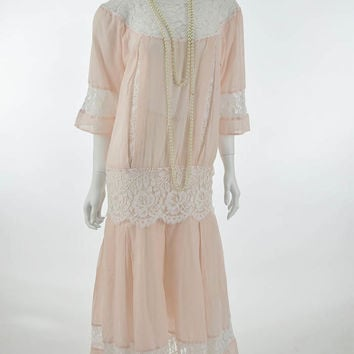 20s Inspired 80s Pink Voile and Lace Drop Waist Dress