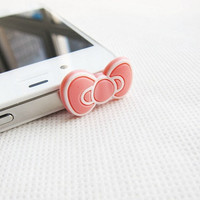 Super Cute Large Pink Bow Iphone Headphone Plug/ Dust Plug - Ready to Ship Cellphone Accessories