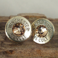 Bullet  Earrings  - Stud Earrings - Ultra Thin - Colt 45 - Gold Rush