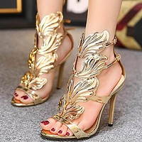 Sell individual character female shoe metal wing thin heel ultra high heel peep-toe sandal