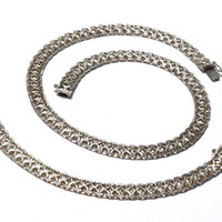Wide Sterling Silver Patterned Mesh Chain Necklace and Bracelet Set
