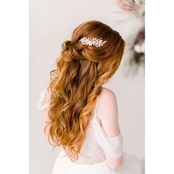 Rose gold blush flower comb - Style 4002
