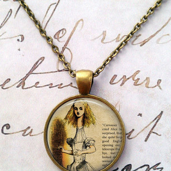 Alice In Wonderland Necklace, Glass Necklace, Wonderland, Steampunk, Once Upon a Time T594