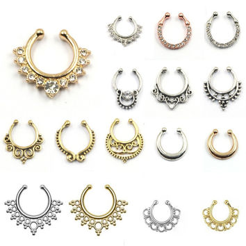Hot sale crystal fake septum nose ring piercing clip on body jewelry faux hoop nose rings for women BH0015