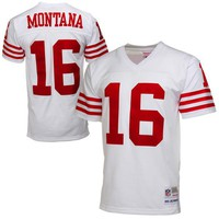 Mens San Francisco 49ers Joe Montana Mitchell & Ness White Retired Player Vintage Replica Jersey