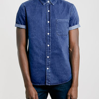 Blue Denim Short Sleeve Shirt - Topman