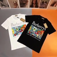 Burberry Embroidery Color Splice Logo Cotton T-shirt