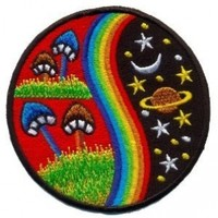 Mushroom Hippie Weed Boho Retro Pot Lsd Love Peace Applique Iron-on Patch T-24 Made of Thailand