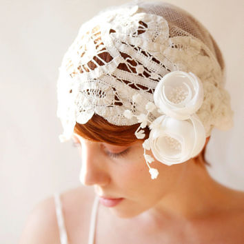 bridal lace headpiece 'bespoke' by whichgoose on Etsy