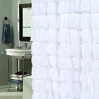 Royal Bath Flamenco Tiered Crushed Voile Fabric Shower Curtain - White