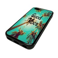 Apple iPhone 5 or 5S Case Cover Skin Good Vibes Sunny Palm Trees DESIGN BLACK RUBBER SILICONE Teen Gift Vintage Hipster Fashion Design Art Print Cell Phone Accessories