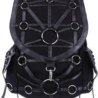 Black O-Ring Harness Backpack Purse Occult