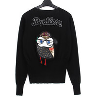 Owl Letter Embroidery Mosaic Knit Sweater Outerwear