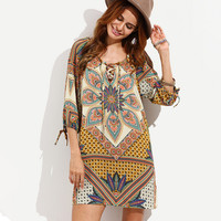 Floral Paisley Lace-Up Summer Dress