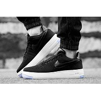 Originals Nike Air Force One 1 Flyknit Low Black / White Running Sport Casual Shoes '0