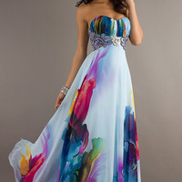 Long Strapless Print Evening Gown