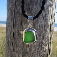 Irish Green  Sea Glass  Sterling Silver Necklace by Wave of Life