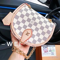 Louis Vuitton LV Popular Women Shopping Leather White Tartan Shoulder Bag Crossbody Satchel