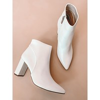 Luna Pointed Toe Booties (White)