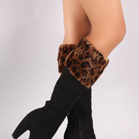 Bamboo Leopard Fur Cuff Heeled Suede Boots