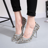 NEW 2016 autumn paragraph shallow mouth pointed high heels shoes small flower sequins rivets fine with a single shoe female shoe