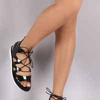 Jelly Caged Lace Up Gladiator Flat Sandal