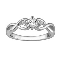 Sterling Silver Lab-Created White Sapphire & Diamond Accent Infinity Ring