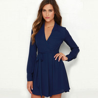 Dark Blue V-neck Long Sleeve Pleated Mini Dress