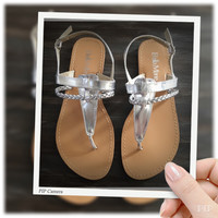 """INSANITY CLOSEOUT """"Fun Time, Any Time"""" Silver Flat Heel Sandals"""