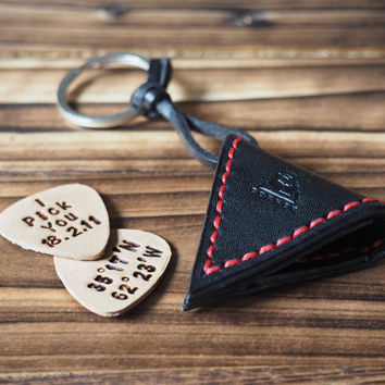 Personalized Leather Guitar Pick Case Keychain #Black with Red thread
