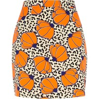 Orange polka dot floral print mini skirt