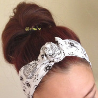 White Paisley Bandana Dolly Bow Headband