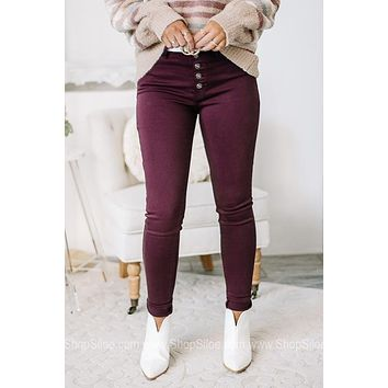 Wearing It Best Burgundy Skinny Jeans