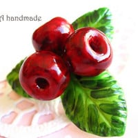 Cute handmade polymer clay realistic cherries with leafs red and green brooch